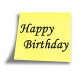 yellow birthday memo on a white background poster