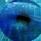 eye being scanned by security software: human pupil poster
