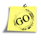 yellow go memo on a white background poster