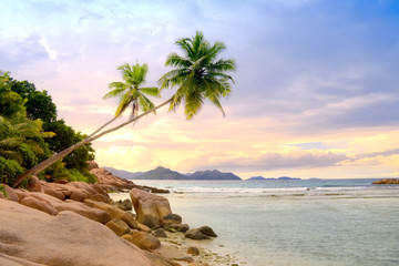 Scenic view of the coast of LaDigue Island, Seychelles