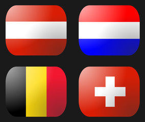 Belgium Netherlands Swiss Austria Flag buttons illustration