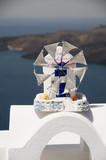 windmill replica cyclades harbor santorini greek islands poster