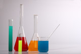 Colorful chemicals used in a scientific research experiment poster