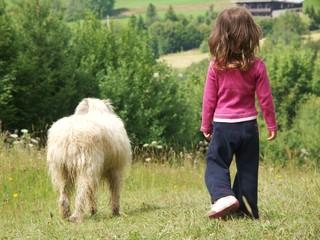 enfant promène son  chien