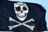 black pirate flag fluttering in the wind, parts of it blurry poster