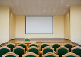 Modern auditorium hall for presentation with projection screen poster