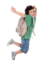 happy child jumping with backpack, back to school