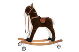 toy horse with a saddle and wheels poster