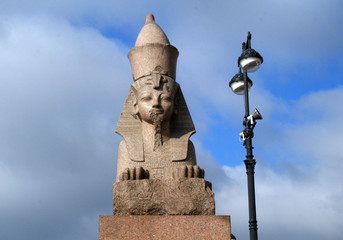 One of two counter-facing Egyptian Sphinxes in Saint Petersburg.