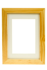 classic wooden image frame isolated on a white background