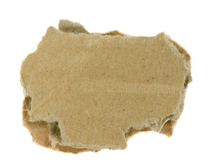 torn piece of corrugated fiberboard isolated