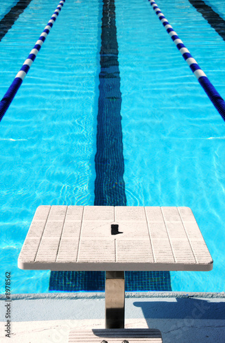 Starting block at end of swim lane