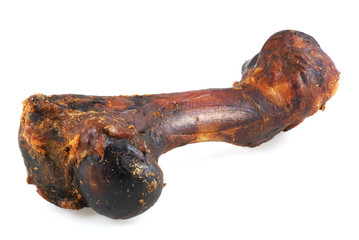 Smoked dog bone, isolated on a white background.
