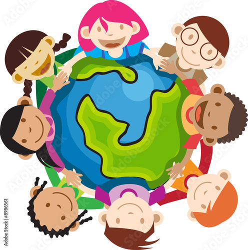 Multi culture kids hands in hands holding a globe
