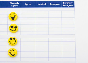 Close up of survey with happy faces, excellent customer service