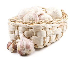 Fresh garlic on a white background. Close up.