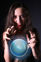sexy vampire-girl with crystal ball
