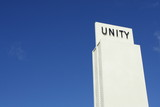 Unity sign on a blue sky poster