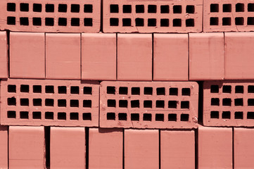 Red finishing bricks for construction