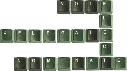 Vote, elect, nominated, dlegate keyboard letters crossword