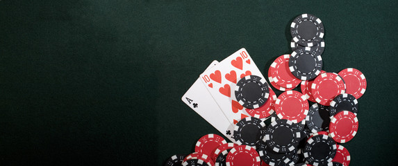 Casino chips and texas holdem poker cards. Vegas concept