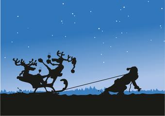 Weihnachtsmann zieht Rentiere Silhouette