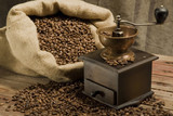 Fototapety Coffee beans and coffee grinder