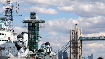 HMS Belfast et Tower Bridge, London