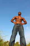 Tall shirtless man poster