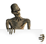 A zombie holds onto the edge of a blank sign - 3D render. poster