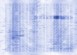 futuristic digital future in blue and white with binary info poster
