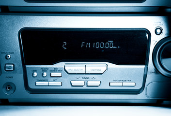 Modern radio front view. Blue tint.