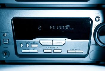 Modern radio front view. Blue tint.
