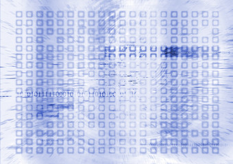 futuristic digital future in blue and white with binary info