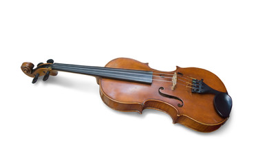 A old violin on white. Isolated with clipping path