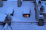 Snow covered rooftops poster