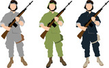 The set of vector US soldiers in different uniforms poster