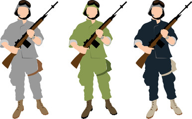 The set of vector US soldiers in different uniforms