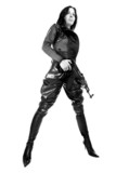 The armed girl in clothes from latex poster