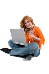Portrait of a teenager sitting with a laptop computer