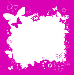 pink background with flowers and butterfiy