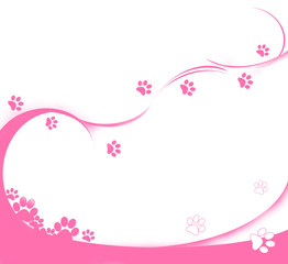 background with pink cat's tracks