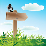 Pointer of way and raven sitting on him. Vector. poster