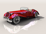 Shiny old Hot Rod 3D model of vintage red convertible car poster