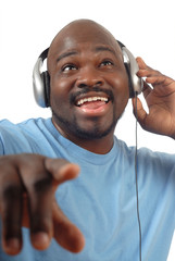 Hip young dude listening to some music on his headphones