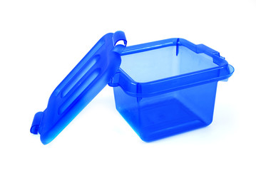 pictures of a blue plastic bin over a white background