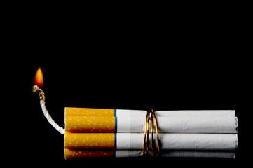 Several cigarettes bound together like sticks of dynamite.