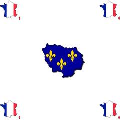 Île-de-France hinterlegt mit der Flagge