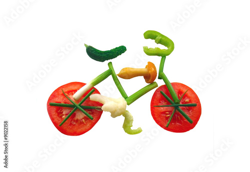 Keuken foto achterwand Fietsen Sliced vegetables in form of a bicycle