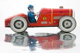 old tin race car poster